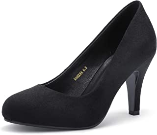 Women's Dora Classic Round Closed Toe Slip On High Heels Pumps Party Wedding Dressy Shoes