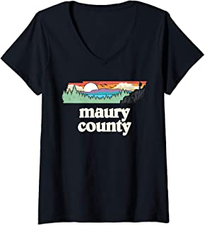 Womens Maury County Tennessee Outdoors Retro Nature Graphic V-Neck T-Shirt