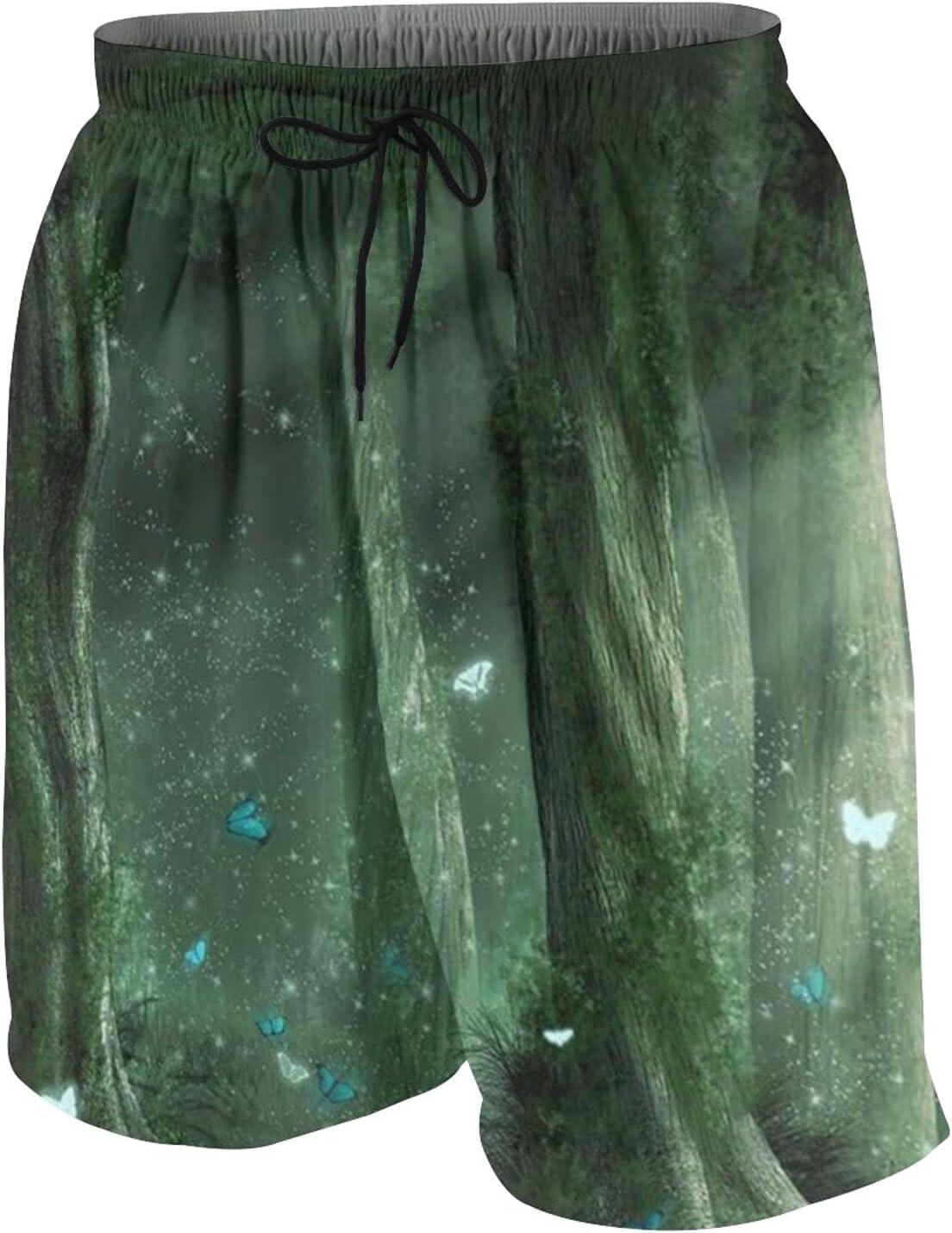 BUERYUZ Popular product Youth Beach Popular Pants Fantasy Running Green Forest Sho Shiny