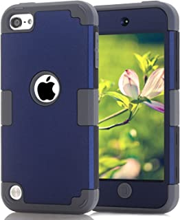 iPod Touch 7 Case iPod Touch 5 Case iPod Touch 6 Case, iPod Touch 2019 3 in 1 Hard PC Case + Silicone Shockproof Heavy Duty Hard Case Cover for iPod Touch 7th 6th 5th Generation (Dark Blue+Gray)