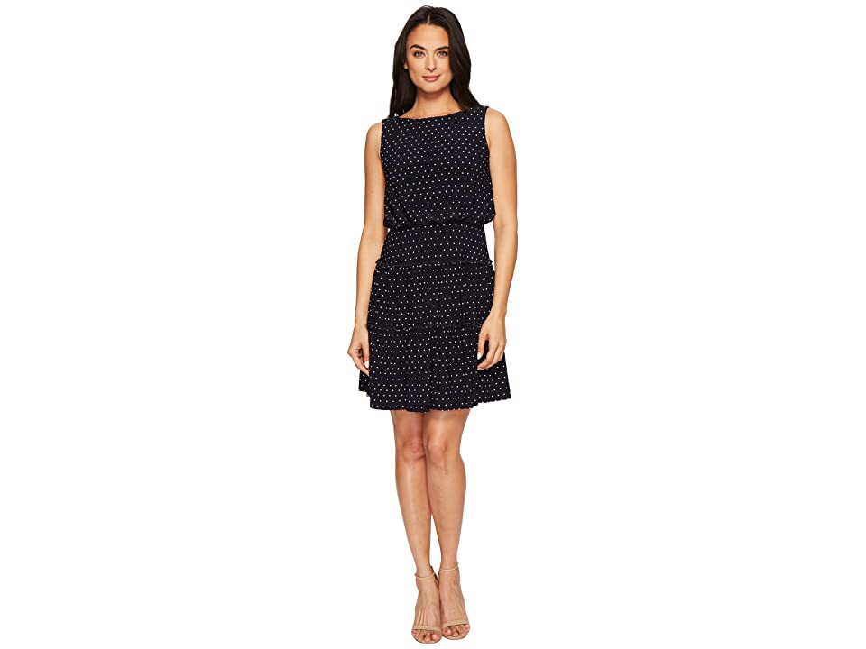 LAUREN Ralph Lauren Opalina Bruni Dot Matte Jersey Dress (Lighthouse Navy/Colonial Cream) Women