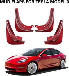 LFOTPP Mud Flaps for Tesla Model 3 Splash Guards Mudflap Fender Mudguards Pack of 4 (Painted Glossy Red)