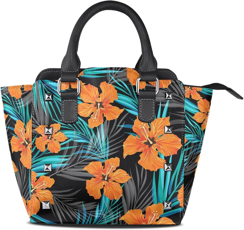 My Little Nest Women's Top Handle Satchel Handbag Summer Tropical Palm Leaves Flowers Ladies PU Leather Shoulder Bag Crossbody Bag