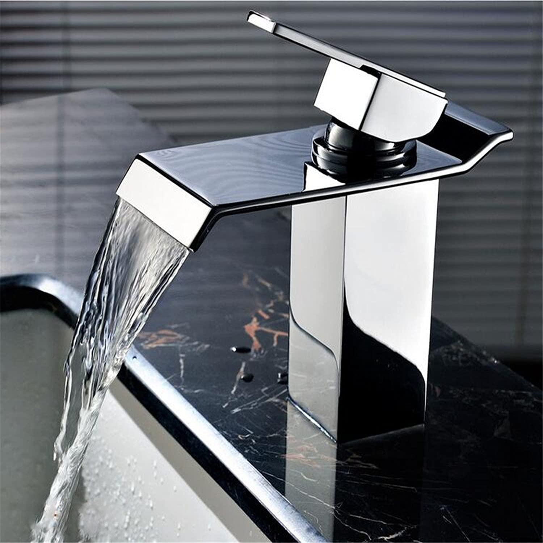 MIWANG Moderne alle Kupfer warmes und kaltes Wasser, Waschbecken mit warmen und kalten Wasserhahn, Einloch, Edelstahl Wasserfall Wasserhahn