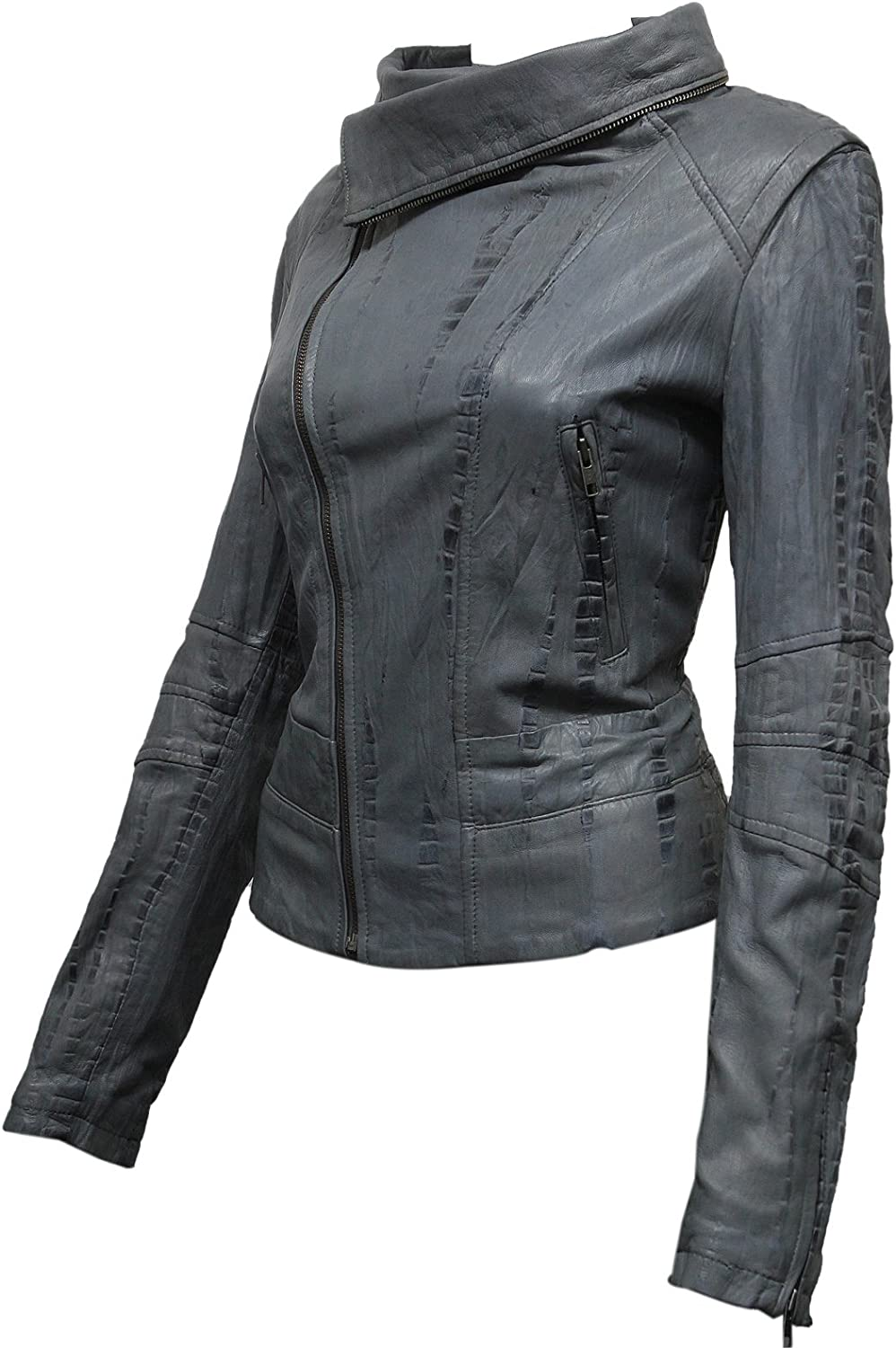 ABSY Ladies Womens Grey Leather Biker Jacket from Real Sheep Leather with Washed Waxed Effect Asymmettric BNWT