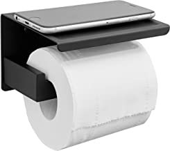 HITSLAM Matte Black Toilet Paper Holder Adhesive, 3M Toilet Paper Holder with Shelf, 3M Adhesive No Drill or Wall-Mounted ...