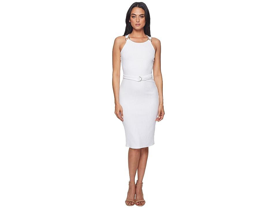 MICHAEL Michael Kors Rib Circle Trim Dress (White) Women