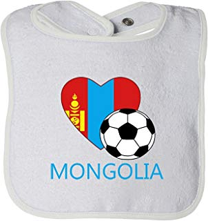 Love Soccer Heart Mongolia 2 Tot Contrast Trim Terry Bib Fornate