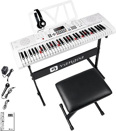 Vangoa Teclado de Piano 61 Teclas Iluminadas Enseñando Electrónicos Teclado Musical con soporte, taburete, micrófono, 600 timbres, 400 ritmos, 30 ...