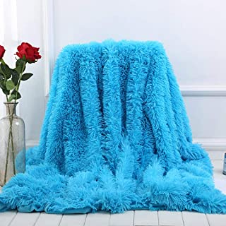 Sleepwish Boys Fluffy Blue Blanket - Decorative Sofa, Couch and Floor Throw - Warm, Cozy, Super Soft Bed or Car Cover - Long Shaggy Hair, Faux Fur, Microfiber Polyester Material - 63 x 79 Inches