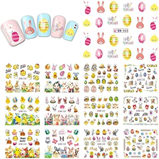 Easter Nail Art Decals Stickers Nail Rhinestones Butterfly Nail Art Bunny Easter Egg Chick Nail Design Stickers Water Transfer Cartoon Pattern Designs For Women Girls Kids, 1 Large Sheets (12 Pcs)