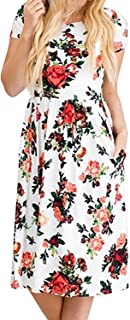 Women's Summer Short Sleeve Floral Printed Casual Loose Swing Pleated T-Shirt Dress with Pockets
