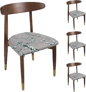 Qishare - Juego de 4 Fundas de Asiento para sillas de Comedor Impresas con Lazos, súper Ajuste, elásticas, universales, Lavables, Protectores de Cojines para Cocina, Oficina(Hoja)