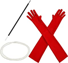1920s Accessories Costume Fancy Dress Plastic Holder Pearl Beads Long Gloves Set (Red)