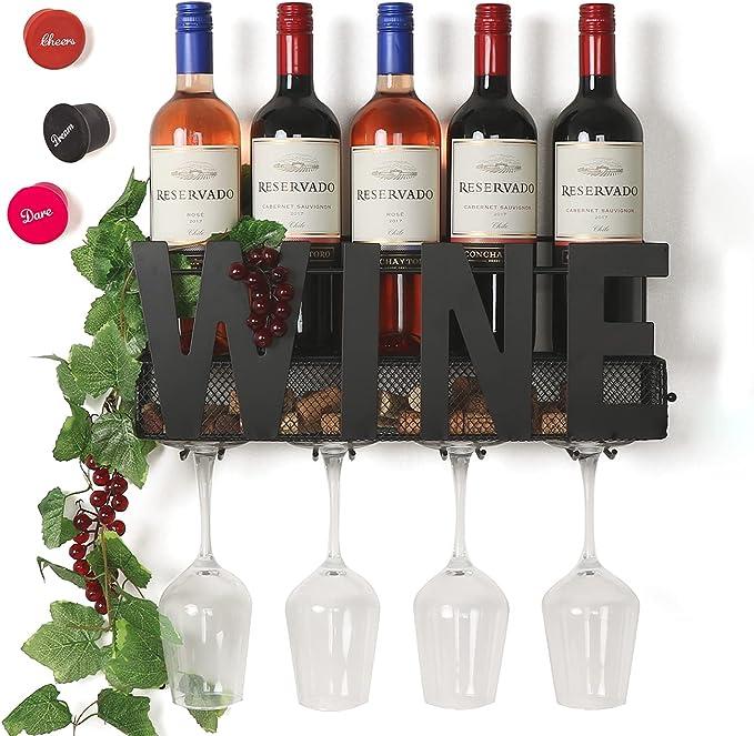 Soduku-Wall-Mounted-Metal-Wine-Rack-4-Long-Stem-Glass-Holder