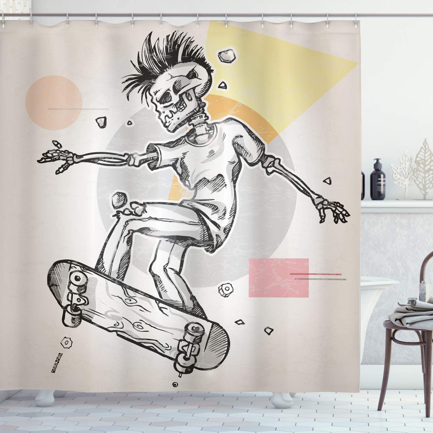 Ambesonne Skull Shower Curtain, Punk Rocker Skeleton Boy on a Skateboard Skiing with Abstract Background, Cloth Fabric Bathroom Decor Set with Hooks, 70