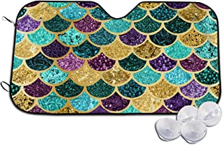 Glitter Mermaid Scales Windshield Sun Shades for Car UV and Heat Reflector