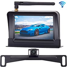 ZSMJ Wireless Backup Camera and 4.3'' Monitor Kit, HD Color, Suitable for Cars,SUVs,Minivans, IP68 Waterproof Rear/Front View Camera with Super Night Vision Guide Lines On/Off Reversing Use
