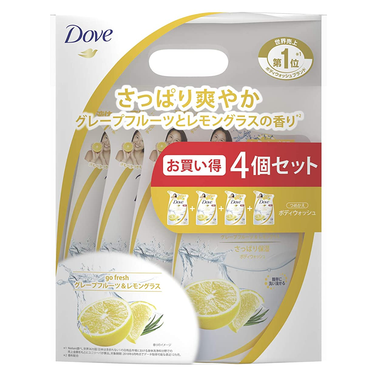 リフトディーラーまつげダヴ ボディウォッシュ グレープフルーツ&レモングラス つめかえ用 4個セット