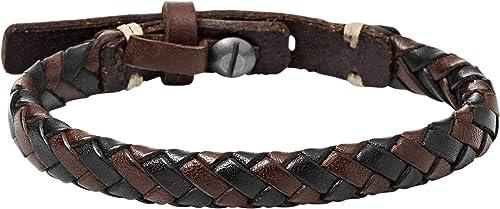 Fossil Homme Bracelet marron en cuir tressé JA5932716