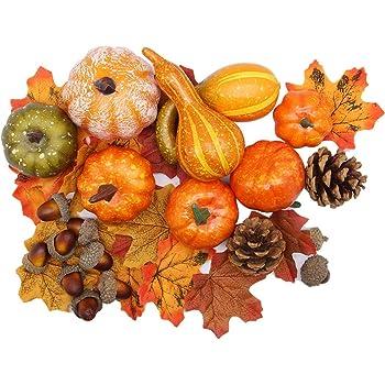 winemana Thanksgiving Artificial Pumpkins Home Decoration Set, Mixture of 50 Artificial Harvest Decoration, 30 Fake Maple Leaves + 10 Fake Acorns + 2 Fake Pinecones + 8 Fake Pumpkins