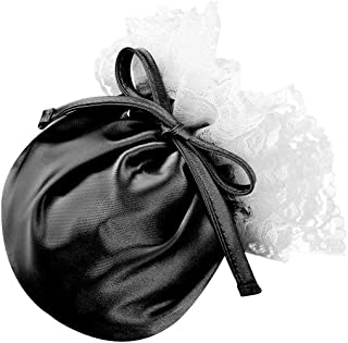 Freebily Mens Satin Sissy Lace Compact Tanning Pouch Cock Sock Drawstring Pouch Bag G-String Thongs