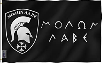 Anley Fly Breeze 3x5 Foot Molon Labe Flag - Vivid Color and UV Fade Resistant - Canvas Header and Double Stitched - Gonzales Spartan Flags Polyester with Brass Grommets 3 X 5 Ft