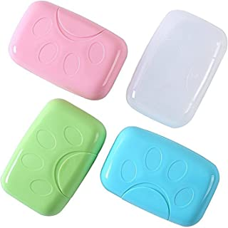 Efivs Arts Plastic Soap Case Holder,Soap Box Container for Bathroom Shower Home Outdoor Hiking Camping Travel Set of 4