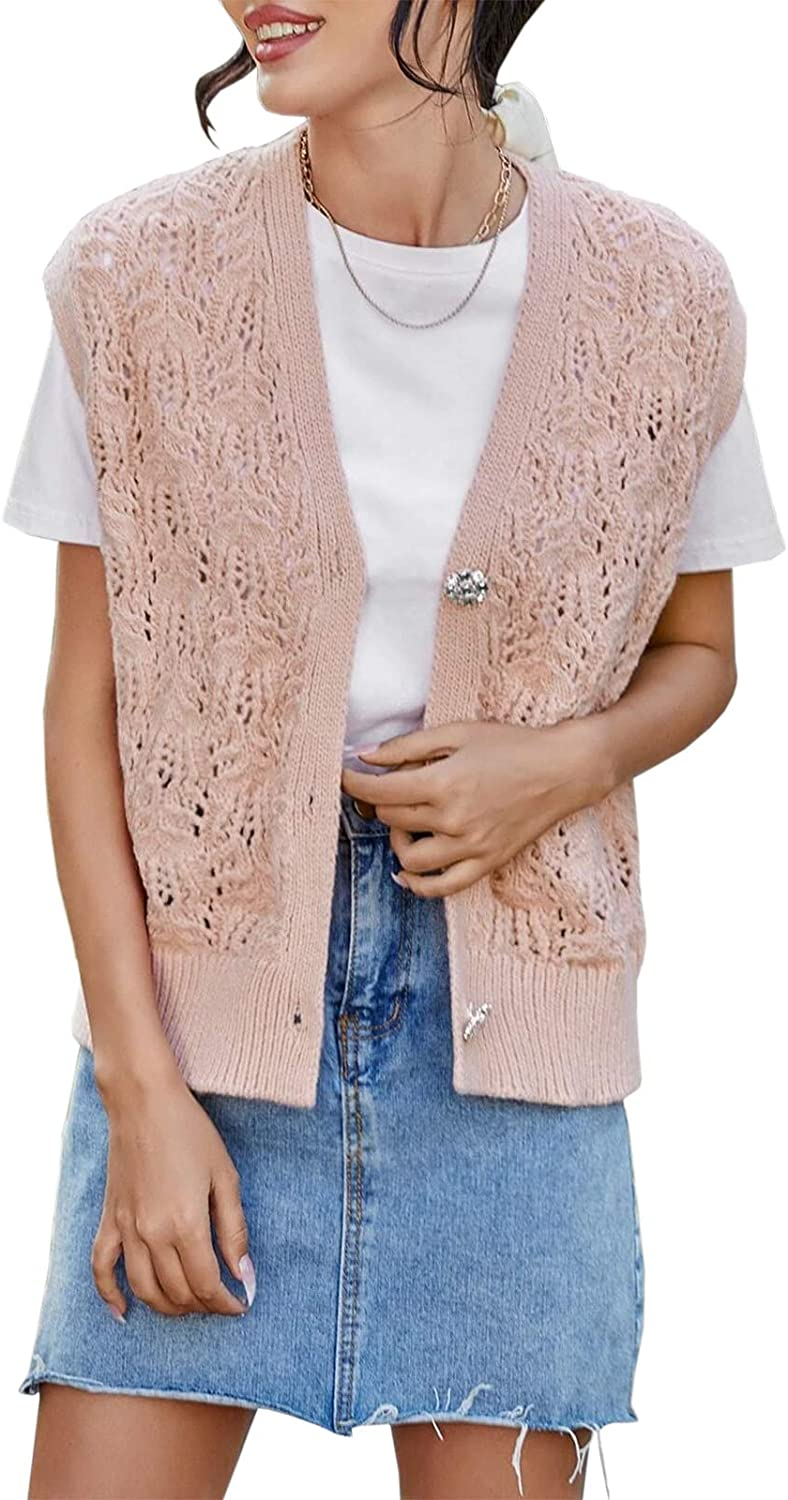 Eurivicy Women's Sweater Vest V Neck Sleeveless Open Front Knit Button Down Lightweight Cardigan Sweater Coat with Pockets