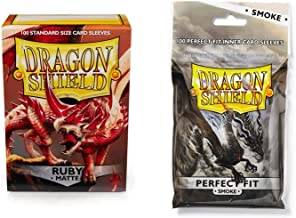 Dragon Shield Bundle: Matte Ruby 100 Count Standard Size Deck Protector Sleeves + 100 Count Smoke Perfect Fit Inner Card Sleeves