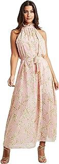 Floral Print High Neck A-line Maxi Women's Dress