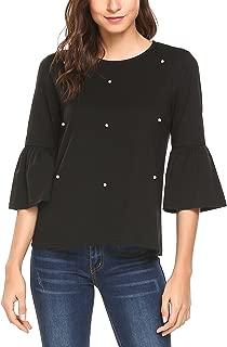 Womens Summer 3/4 Bell Sleeve Chiffon Blouse Round Neck T-Shirt Tunic Tops