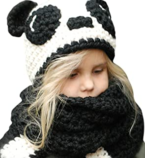 Kids Knitted Winter Hat Fox Cat Animal Hooded Coif Oversize Warm Beanie Scarf Set