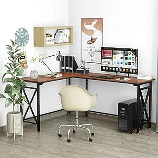 L-Shaped Computer Desk 67'' x 51'' Walnut Corner Computer Desks 2-Piece Corner Laptop Table Home Office Desk Desktop Computer Desks Workstation Desk with Wood Mainframe Holder Easy Assemble