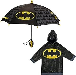 DC Comics Little Boys Batman or Superman Character Slicker and Umbrella Set