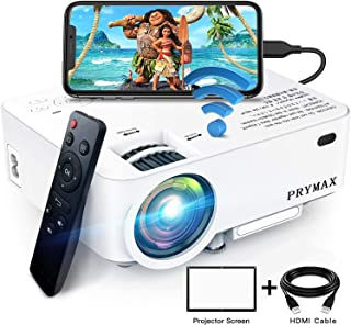 PRYMAX Mini Projector 1080P Supported Bluetooth Smartphone Video Projector, Wireless and Wired Connection Compatible with ...