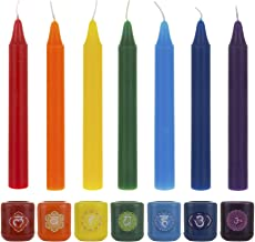 Mega Candles 7 pcs Assorted Colors Ceramic Chakra Chime Ritual Spiritual Energy Spell Candle Holders with Matching Color C...