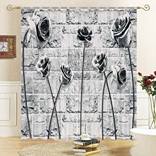 Decor Curtains Curtain Drapes Blackout Suitable for Living Room Bedroom Business Hotel,3d gray wall flower HD digital prin...