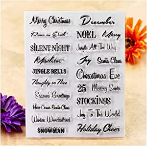 Kwan Crafts Words Merry Christmas Snowman Season's Greetings Clear Stamps for Card Making Decoration and DIY Scrapbooking