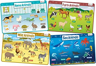 merka Educational Placemats for Kids - Animals Set - Bundle of 4 Mats - Wild, Sea, Home and Farm Animals - Non Slip, Washable and Reusable - Learn About Lions, Cows, Elephants, Dogs, Cats and More
