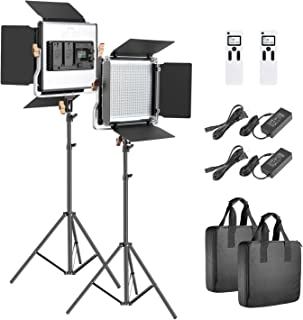 Neewer 2 Packs Advanced 2.4G 480 LED Video Light Photography Lighting Kit, Dimmable Bi-Color LED Panel with LCD Screen, 2.4G Wireless Remote and Light Stand for Portrait Product Photography