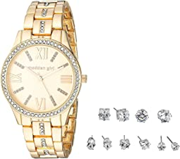 Madden Girl Stone Bracelet Watch and Stud Earrings Set SMGS021