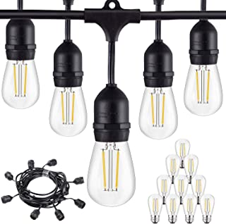 Outdoor Commercial String Lights, 24Ft Heavy Duty Weatherproof Lighting Strands,18 Gauge Black Cable with 8 Hanging Sockets, 10 LED Bulbs for Patio Garden or Party