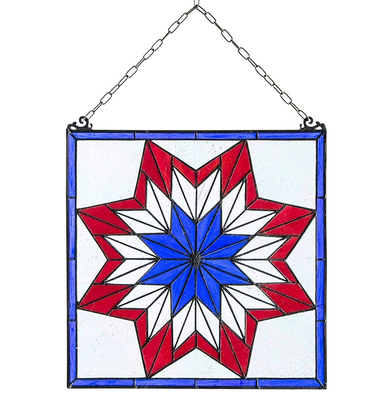 Plow & Hearth Star Stained Glass Hanging Panel Artwork