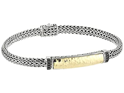 John Hardy Classic Chain 5 mm. Hammered Bracelet with Black Sapphire (18K Gold/Silver) Bracelet