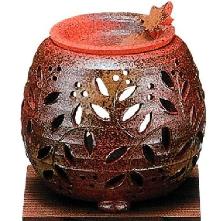 位置するたくさん振り返る常滑焼?石龍窯 カ38-12 茶香炉 タデ花 焼杉板付 約φ11×11cm
