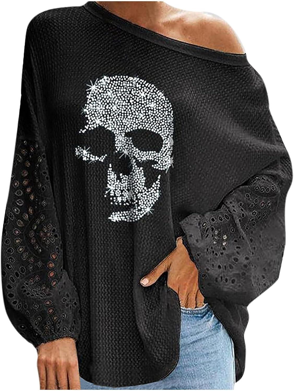 Women's Halloween Pullover Tops Gothic Skeleton Printed Crewneck Sweatshirts Loose Long Sleeve T-Shirts