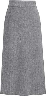 Women's Elastic Waist Slit Midi Knit Ribbed Skirt