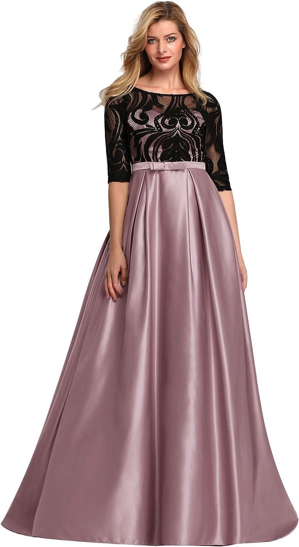 Ever-Pretty Women's Floral Lace Half Sleeve Long Satin Evening Dance Dresses 7866