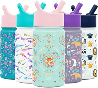 Simple Modern Summit Kids Water Bottle with Straw Lid - Wide Mouth Vacuum Insulated 18/8 Stainless Steel